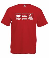 eat sleep train spotting funny boys girls kids new t shirt size age 1-15 year