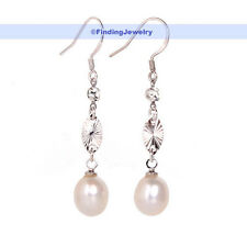 Natural Cultured Pearl & Swarovski Crystal Drop Earring | GREAT GIFT | FJUS