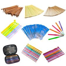 New 9 Types Aluminum or Bamboo Crochet Hooks Needles Knit Weave Craft Tool 35DI
