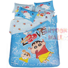 Crayon Shin Chan Fitted Sheet Pillow Case Duvet Cover Cotton Bedding Nohara Blue
