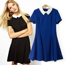 Charm Vintage Peter pan Collar Short Sleeves Slim Prom Party Dress Gown S M L