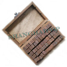 70 Pcs Alphabet Letter/Number Stamps Wooden Rubber Seals Craft Vintage Box Case