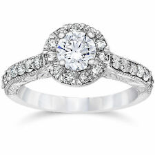 3/4CT Vintage Halo Round Real Diamond Engagement Antique Ring 14K White Gold