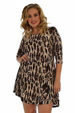 New Womens Dress Ladies Animal Leopard Midi Top Party Evening Nouvelle Plus Size