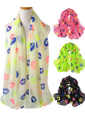 Womens Ladies Lip Print Scarf Shawl Wrap Plain Sexy Kiss Fancy Gift