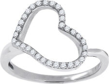 Ladies Sterling Silver Heart Shaped Simulated Diamond Ring in White Gold Finish