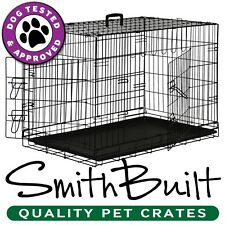 Black Dog Crate Kennel - Pet Playpen Cage w/ ABS Tray Pan