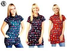 LADIES ANIMAL BUGS PRINT TUNIC DRESS CATS OWL TOP BLOUSE JUMPER