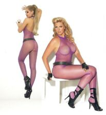 Fishnet Body Stocking Halter Crotchless Purple or Red Plus Size XL Queen EM 1609