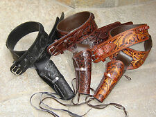 New 44/45 Caliber Hand Tooled Leather Western Cowboy Drop Loop Holster & Belt