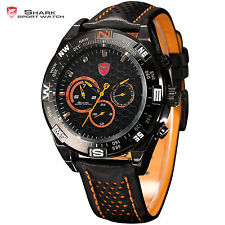 SHORTFIN SHARK Fabulous Big Case Date Day Leather Quartz Wrist Men Sport Watch