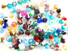 Lots 300Pcs Glass Crystal Jewelery Finding Bicone Spacer Beads 4mm 55Color