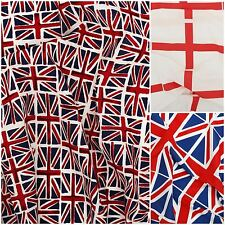 100% COTTON BRITISH FLAG UNION JACK ST GEORGE CRAFTING PATCHWORK CRAFT FABRIC