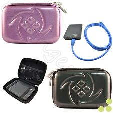 External Portable Hard Drive Hard Carrying Case Cover + Blue 6ft USB 3.0 Cable