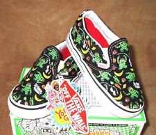 NEW VANS BROBEE PARTY CLASSIC SLIP-ON SHOE BLK/WHT/MULTI TODDLER SZ 4, 4.5
