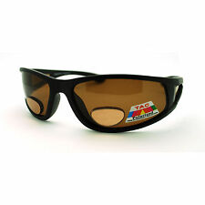 Mens Polarized Brown Lens Sport Warp Biker Sunglasses with Bifocal Reading Lens