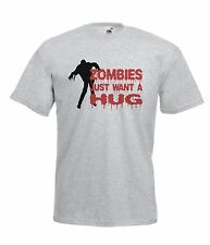 ZOMBIES HUG funny zombie game NEW Boy Girls Kids size T SHIRT TOP Age 1-15 Years