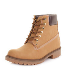 Womens Chunky Lace Up Honey Suede Look Worker Fashion Ankle Boots Size 3-8