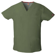 Scrubs Dickies Men's EDS V-Neck Top 81906 Olive OLWZ FREE SHIPPING
