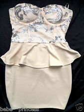 NWT bebe beige silver sequin strapless peplum bustier party top dress XS S M L