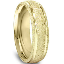 5MM Brushed Wedding Band 14K Yellow Gold Mens Bridal Ring Size 7-12