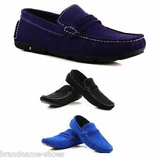 MENS BLUE BLACK PURPLE SUEDE LEATHER CASUAL BOAT DECK LOAFERS CASUAL SHOES
