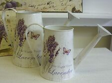 Shabby Rustic Chic Vintage Metal Old English Lavender Butterfly Watering Can