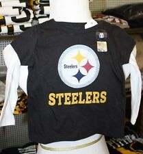 Pittsburgh Steelers GIRLS LONG SLEEVED 2 TOP LOOK T SHIRT infant toddler  NEW