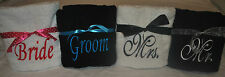 Set of 2 Embroidered Wedding Bath/Beach Towels - Bride & Groom or Mr. & Mrs.