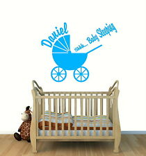 PERSONALISED VINYL WALL ART STICKER*BABY BOY/GIRL NURSERY **Shhh Baby Sleeping**