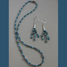 Dragonfly & faux Pearl necklace dangle earring Teal Blue