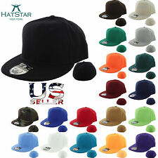NEW RETRO Plain Fitted Cap New Baseball Hat Solid Flat Bill Visor Blank Color