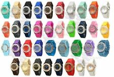 New Women's Geneva Crystal Silicone Rubber Jelly Band Watch W/ Rhinestone Bezel