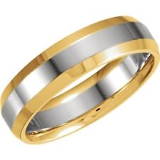 Comfort Fit Wedding Band in 14kt Two Tone Gold. 6 mm Width Size 4-13