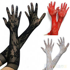 Womens Brides Sexy Stretch Lace Opear Wedding Long Gloves - Black White Red B94U