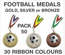 PACK OF 50 (0.65p each) Football Medals & Ribbon Metal 50mm Ref:GMM7050/MR1