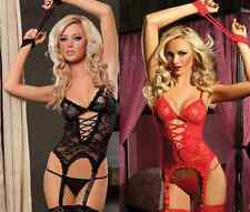 Sexy Lingerie Women Lace Dress+ G string+ Handcuff+ Garter Belt+Stocking 2 Color