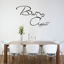 Bon Appetit Wall Art Sticker KItchen Vinyl Quote Decal Mural Stencil Transfer