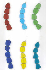 Frosted Beach Sea Glass Flat Freeform Nugget Beads 20mm to 24mm