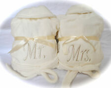 Set of 2 Plush Fleece Robes w/ Mr Mrs His Hers or Bride Groom Embroidery!!