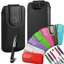 Magnetic PU Leather Pull Tab Flip Case & Stylus For Nokia Phones