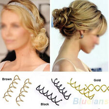 10pcs Spiral Spin Screw Bobby Pin Hair Clip Twist Barrette Gold Brown Black B94U