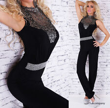 Sexy Women's Jumpsuit Black-Silver Embroidery Catsuit U.K Size 8,10,12