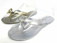 Ladies Slip On Jelly Toe Post Flip Flops/Sandals with Bow & Diamante Trim F0581