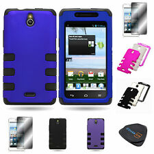 For Huawei Ascend Plus H881C - Dual Layer TPU Plastic Snap On Hybrid Phone Case