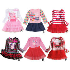 New Girl Kids Baby Peppa pig Cotton Long sleeve Dress Clothes 1-6