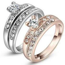 Wedding Ring Set Plated White Gold Rose Gold 18k Size 6 7 8 HOT