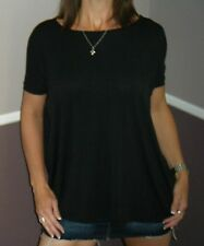 Sexy PIKO Dolman Wide Open Boat Neck Dolman Sleeve Tunic Top Shirt Black S/M/L