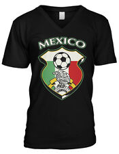 Mexico World Cup Soccer Ball Flag Crest Mexican Eagle Pride Mens V-Neck T-Shirt