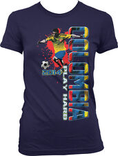 Colombia Play Hard World Cup 2014 Colombian Soccer Player Girls Junior T-Shirt